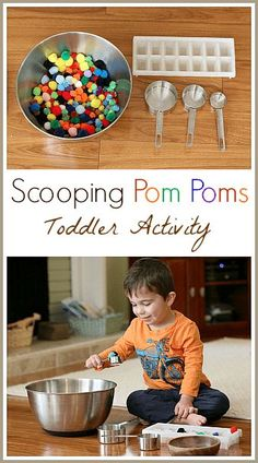 Toddler Activities: Scooping Pom Poms- Fun and easy activity for small children. Practice colors, counting, and fine motor skills. Great quiet time activity. #mathforkids #toddlers #toddlerplay #finemotor #preschool #ece