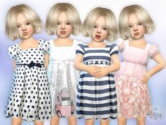 The sims 4 toddler dresses collection (mesh) by lillka available at the sims Sims 4 Toddler Clothes, Toddler Girl Dresses, Toddler Outfits, Baby Dresses, Dress Girl, Toddler Girls, Baby Girls, Sims 4 Cc Skin, Sims Cc