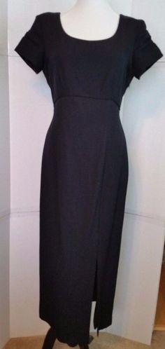a98ecfb94c7 Jeffrey   Dara Black Evening Dress Petites sz 6 P Gown Cut out bow train  Vintage