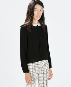 Image 1 of BLOUSE WITH CONTRASTING COLLAR from Zara