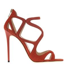 f013ae019a9 Jimmy Choo - Agate Red Leather Leslie Open Toe Stilettos Heel 10cm Fab Shoes