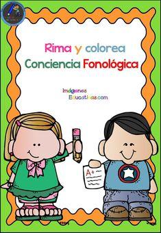 Bonitas fichas para rimar y colorear - Imagenes Educativas Preschool Spanish, Spanish Activities, Sign Language, Speech And Language, Phonological Awareness, Preschool Education, Dyslexia, Second Grade, Homeschool