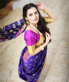 Beautiful Girl In India, Beautiful Indian Actress, Beautiful Saree, Saree Photoshoot, Bridal Photoshoot, Beauty Full Girl, Beauty Women, Maharashtrian Saree, Kashta Saree