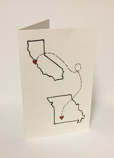 Long Distance Love Card  Valentines Day Anniversary Wedding