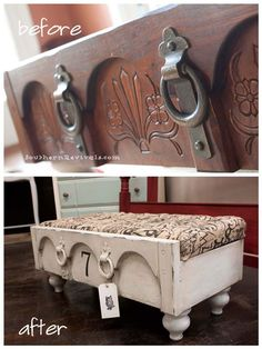 Upcycled Furniture Projects - Drawer Ottoman DIY - Repurposed Home Decor and Furniture You Can Make On a Budget. Easy Vintage and Rustic Looks for Bedroom, Bath, Kitchen and Living Room. Refurbished Furniture, Repurposed Furniture, Painted Furniture, Dresser Repurposed, Modern Furniture, Furniture Layout, Antique Furniture, Furniture Decor, Bedroom Furniture