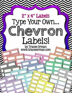 """Chevron Labels You Can Customize and Edit - 2""""x4"""" labels (10 per page)The possibilities are endless for organizing your classroom: create classroom labels, name tags, folder or notebook labels, reward certificates, passes, thank you notes, candy holders, grab bag labels, reminders, book plates, book bin labels, and the list goes on!"""
