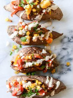 fajita stuffed sweet potatoes I howsweeteats.com