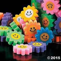 48 Mini Daisy Flower Smile Happy Face Erasers Kids Birthday Party Favors Gifts | Home & Garden, Greeting Cards & Party Supply, Party Supplies | eBay!