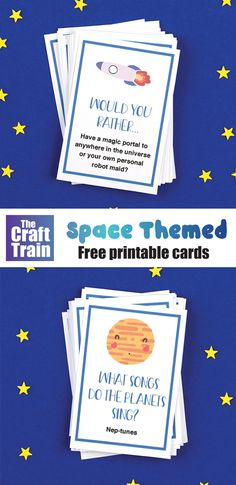 Print out this free set of hilarious Space jokes and Space Would You Rather cards — so much fun for kids of all ages! #printables #kidsprintables #spacejokes #wouldyourather #kidsjokes #kidsactivities #spaceforkids Summer Jokes For Kids, Summer Crafts For Kids, Space Activities For Kids, Science For Kids, Learning Activities, Teaching Resources, Free Printable Cards, Free Printables, Outer Space Theme