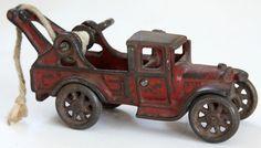 Antique Cast Iron Arcade 221 Red Toy Tow Truck Wrecker Crank Winch Vtg 1920's #arcade
