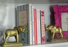 DIY Gold Elephant Bookends