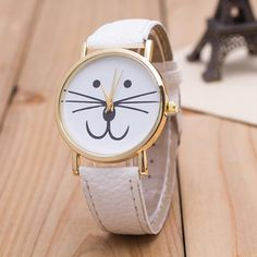 Cat-Face Vogue Wrist Watch, Leather Band Analog Quartz (9 colors, Stainless Steel back cover)
