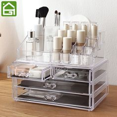 Clear Acrylic Makeup Jewelry Storage Box 4 Large Drawer Organizer & 16 Compartments Lipstick Holder #Affiliate