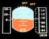 Künstlicher Horizont der EC135 bzw. EC145. Diese Software wird in Zukunft mit einem echten GPS verbunden werden können. Dann stellt die Software reale Daten dar.