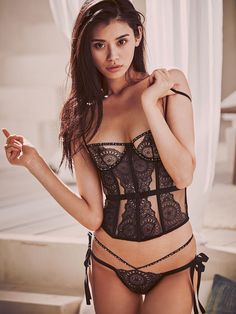 Eyelet V-string Panty in Black Embellished $78- The Victoria's Secret Designer Collection - Victoria's Secret