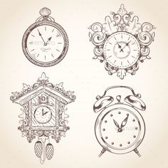 Buy Old Vintage Clock Set by macrovector on GraphicRiver. Old vintage clock and stopwatch sketch set isolated vector illustration. Editable EPS and Render in JPG format Old Clocks, Antique Clocks, Rolex Submariner, Antique Watches, Vintage Watches, Vintage Clock Tattoos, Vintage Tattoos, Clock Drawings, Clock Tattoo Design