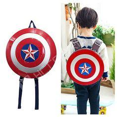 Kids Boys Captain America Shield Backpack Marvel Avengers Superhero School Bag