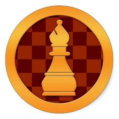 Chess Bishop | Gold Bishop Chess Piece Round Sticker