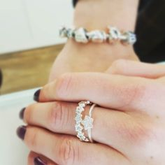 The newest star rings in Pandora look so amazing stacked together! We love them. - Shop now > http://ift.tt/1Ja6lvu