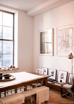 Nili Lotan, home, Tribeca, New York City, dining room, bench / Garance Doré