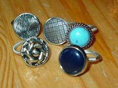 how to make vintage button rings using wire and a button. so simple and easy to customize