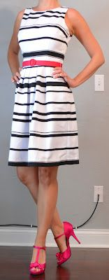 outfit post: black and white striped dress with pink belt | Outfit Posts Dynamic
