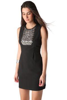 Black mini dress with studded bib