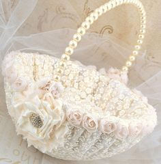 Flower Girl Basket  Bridal Basket in Ivory and Cream by SolBijou, $95.00