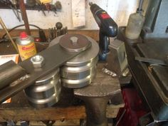Hydraulic Tubing Bender by Steinbruchsoldat -- Homemade hydraulic tubing bender constructed from custom-machined dies, flat bar, nuts, bolts, and pipe. http://www.homemadetools.net/homemade-hydraulic-tubing-bender-2