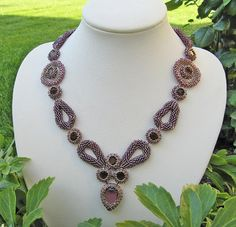 Necklace with beaded drops and chatons http://notwithoutmybeads.blogspot.co.at/