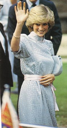 HRH Diana, Princess of Wales in 1983 waving to admirers.