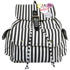 Striped Drawstring Backpack ($36) ❤ liked on Polyvore featuring bags, backpacks, stripe bag, striped backpack, knapsack bags, rucksack bag and stripe backpack