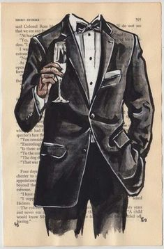 Black Tie Night by Sunflowerman project Pin Up Drawings, Colorful Drawings, Fashion Painting, Fashion Art, Clothing Sketches, Paris Chic, Painting People, Dapper Men, Fashion Design Sketches