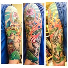 Okami sleeve done by @meghanpatrick.  #tattoos #ink #sleeve #videogametattoo #gamertattoo #gamerink #gamersleeve #videogames #gamer #gaming #ps2 #ps3 #wii #okami #okamitattoo