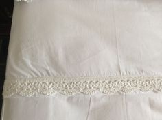Cotton percale top sheet with crochet details by South Cape Crafts White Linens, Cotton Crochet, Bed Pillows, Cape, Bedding, Handmade Items, Crafts, White Bed Sheets, Pillows