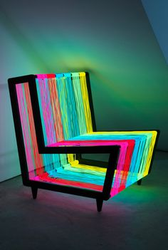 Awesome Glow in the Dark Light Up Chair http://iloveblacklight.com/disco-chair/