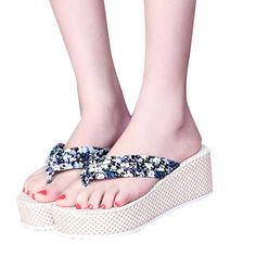 DZT1968(TM) Women Bohemia Slippers (Platform Wedges) Sandal Flip Flops (Beach Shoes) (38, A) *** Continue to the product at the image link.
