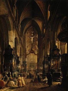 Aleksander Gryglewski - Interior of the St. Mary's Church in Kraków 1858