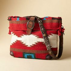HEARTHSIDE STORIES BAG -- Hold history in your hands with our thought-fully crafted, crossbody blanket bag. Vintage studded belt strap and belt tabs buckle, each unique. Fully lined. Two inner pockets. Cowgirl Chic, Cowgirl Style, Ethno Style, Carpet Bag, Boho Bags, Navajo, Beautiful Bags, Leather Bag, Gypsy