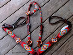 Horse tack set with beaded bridle / headstall and breast collar.... Micro beaded in size 15/0 seed beads by Cindy Walker - The Beaded Saddle