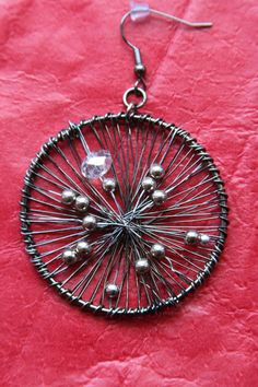 Round Earrings Wire Jewelry Gunmetal Wire and Silver by Kostimusha, $20.00 DIY idea.