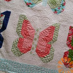 Piece N Quilt: Social Butterfly- The Quilt completed with Superior Threads So Fine! #50 polyester quilting thread