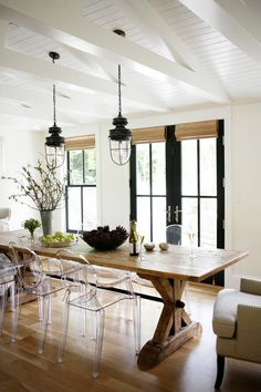 Farmhouse outdoor lighting dining room farmhouse with industrial pendant lights french doors trestle table