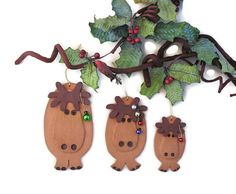 Ceramic Moose Family - 3 Whimsical  Handcrafted Ornaments of different sizes, by SallysClay.com