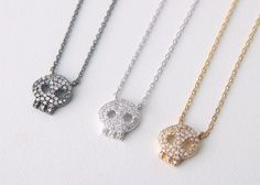 Skull Black Jewelry – Black Silver Jewelry, Silver Skull Necklace, Black Skull Necklace