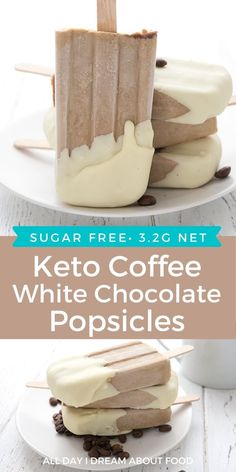 Creamy low carb coffee popsicles dipped in sugar-free white chocolate. An easy keto treat perfect for summer!