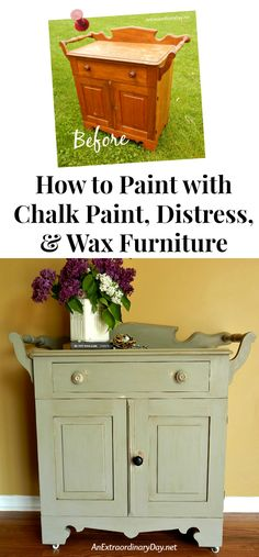 See a Before & After and a FULL DIY TUTORIAL on How to Paint wood furniture with chalk paint including tips for distressing and how to wax. See this full makeover of an antique washstand. FolkArt paint was used on this project.