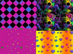 4 Neon Stars Hearts Squares Patterns Set - http://www.welovesolo.com/4-neon-stars-hearts-squares-patterns-set/
