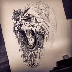 Drawin-a-Day: 11 - Finishing a lion commission Tattoo Sketches, Tattoo Drawings, Body Art Tattoos, Sleeve Tattoos, Cool Tattoos, Tatoos, Lion Head Tattoos, Lion Tattoo Design, Tattoo Designs