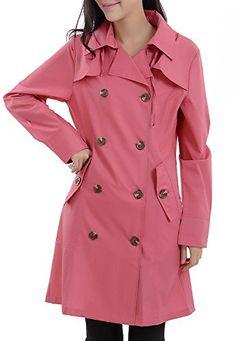 e55eef616 Amazon.com: QZUnique Women's Waterproof Packable Rain Jacket Double  Breasted Poncho Raincoat Black: Clothing